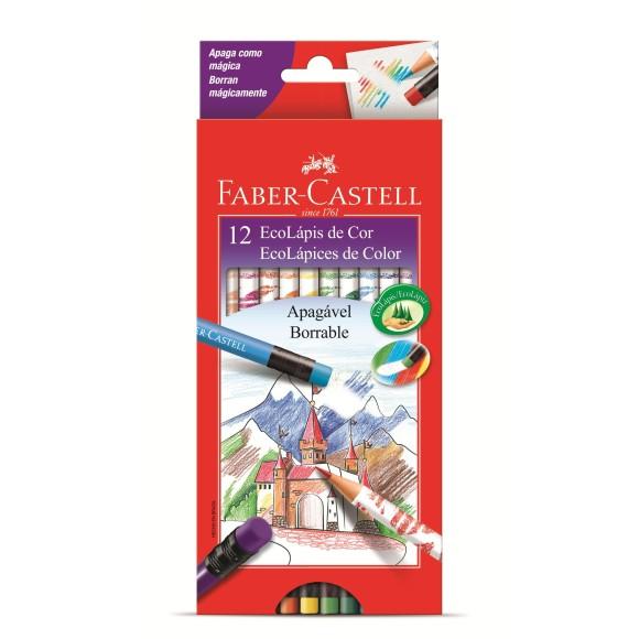 Lápis De Cor Ecolápis 12 Cores Apagável Com Borracha Faber Castell 121212GB