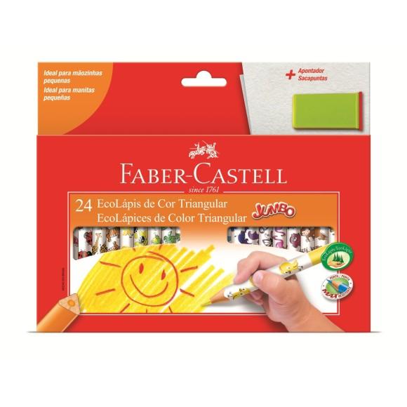 Lápis de Cor 24 cores Jumbo triangular 12.3024AP Faber Castell