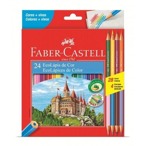 Lapis de Cor 24 Cores + 4 Ecolapis Bicolor Faber Castell 120124/4B