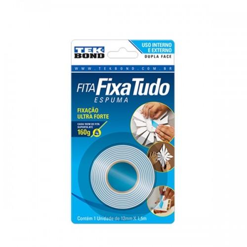 FITA DUPLA FACE C/ESPUMA 12mmX1,5m  FIXA TUDO TEKBOND