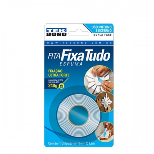 FITA DUPLA FACE C/ESPUMA 19mmX1,5m  FIXA TUDO TEKBOND