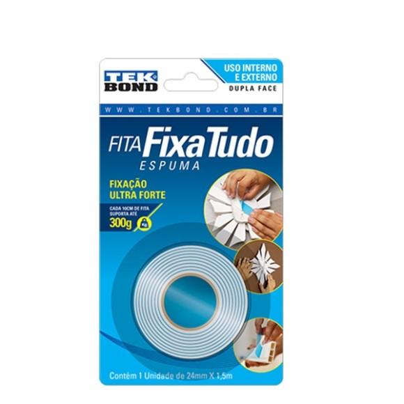 FITA DUPLA FACE /ESPUMA 24mmX1,5m FIXA TUDO TEKBOND