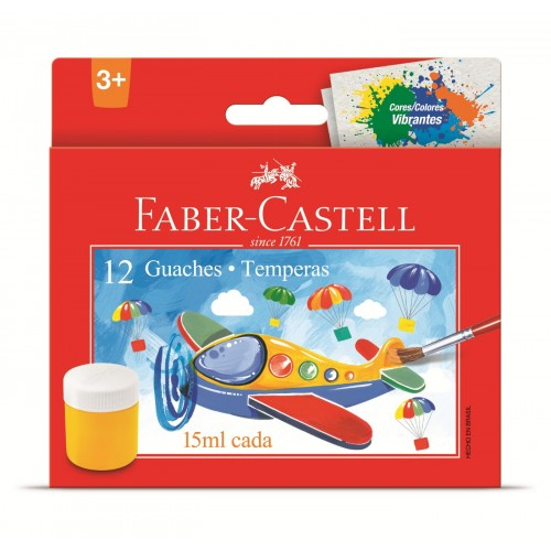 Tinta guache 15 ml c/12 cores 161112 Faber Castell