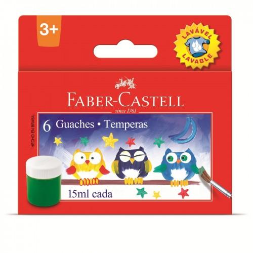 Tinta guache Lavável 15 ml c/6 cores Faber Castell