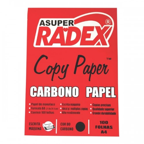 CARBONO PAPEL A4 RADEX PRETO CX C/100