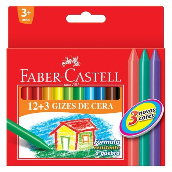 Giz de Cera Fino 12+3 Faber Castell HT141015
