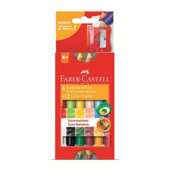 Giz de Cera Faber Castell 12 Cores (6 Bicolor) Corpo Madeira HT141412
