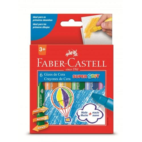 Giz de Cera 6 Cores Super Soft Faber Castell Ref.18.140BB