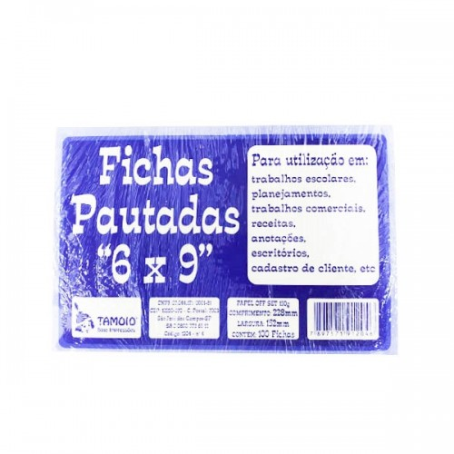 FICHA PAUTADA 6X9 C/100 REF.1204-6 TAMOIO