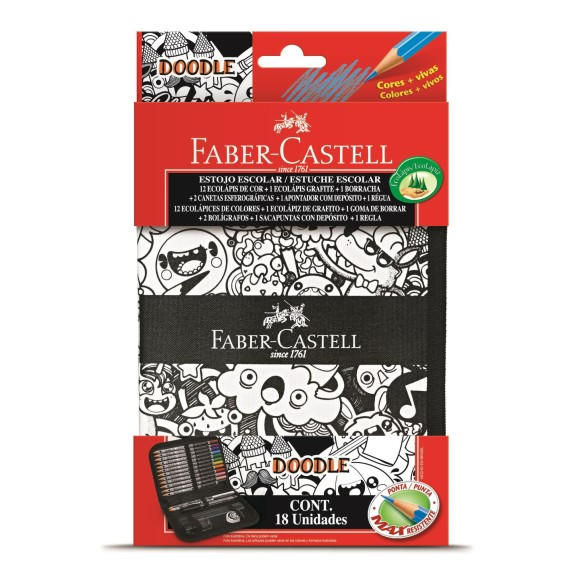 Estojo Escolar Completo Com 18 Itens Doodle Faber Castell