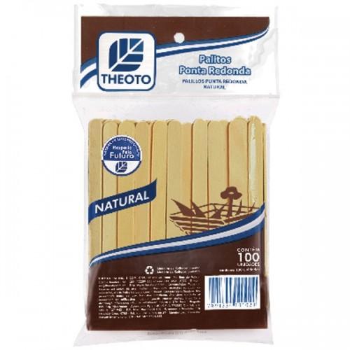 PALITO DE MADEIRA P/ SORVETE PONTA REDONDA THEOTO PCT C/100