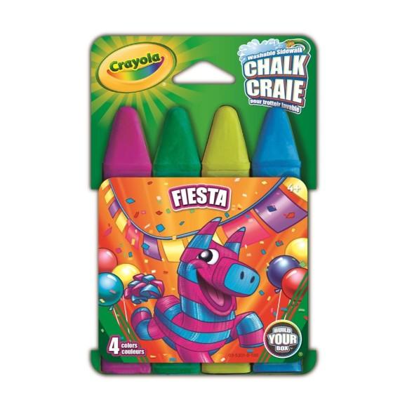 Giz Chalk Lavável P/calçada 4 Cores Fiesta - Crayola