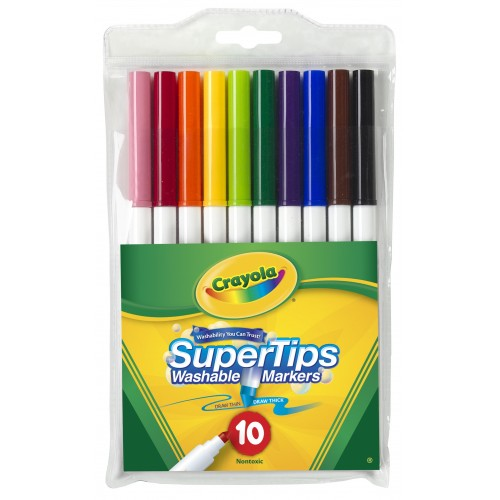 Canetinha Hidrográfica Lavável 10 Cores Super Tips Pta Fina Crayola