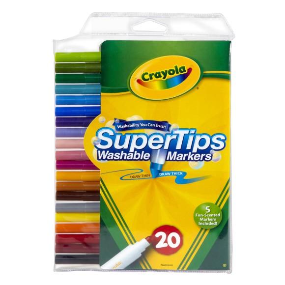 Canetinha Lavável 20 Cores Super Tips Pta Fina Crayola