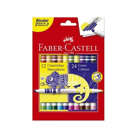 Caneta Hidrográfica Bicolor 12 Canetas / 24 Cores - Faber Castell 15.0612P