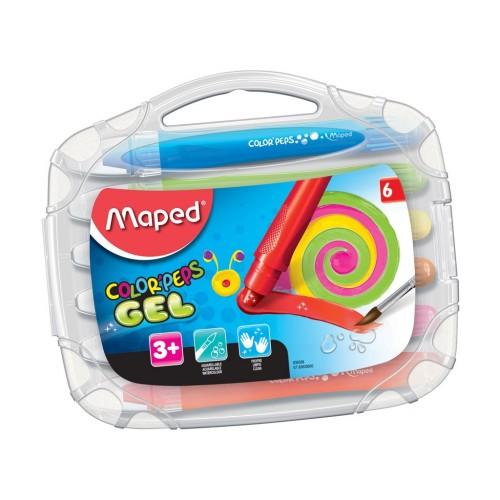 Giz de cera 6 cores Gel Peps 836306 Maped