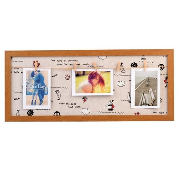 Porta Retrato De Plástico E Tecido Com Varal E Prendedor Forever Dolce Home - D019
