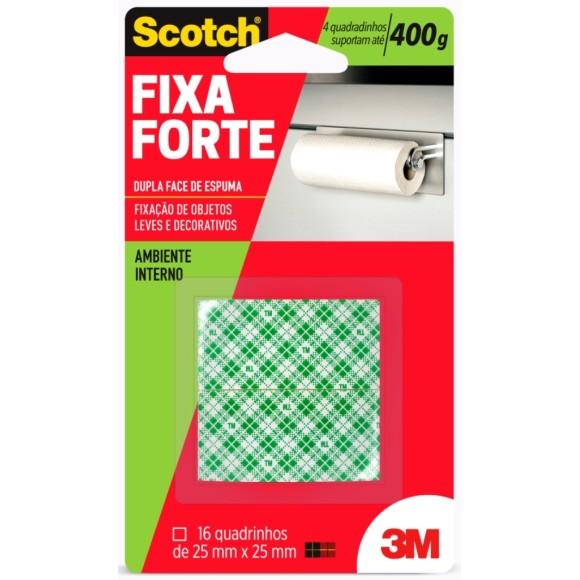 Fita Scotch Fixa Forte Quadradinhos 2,5Cm X 2,5Cm 3M