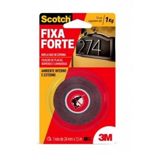 Fita Dupla Face De Espuma Vermelha 24mmx1,5m Uso Externo
