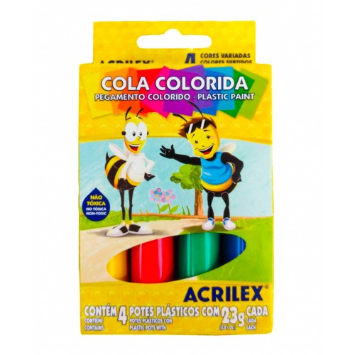 COLA COLORIDA C/4 ACRILEX 23GRS