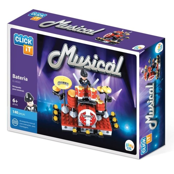 BATERIA MUSICAL CLICK IT - LEGO 140 PÇS - PLAY CIS