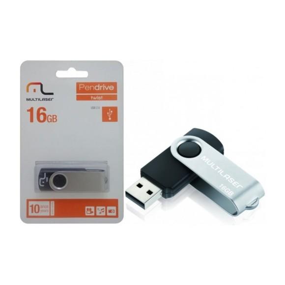 PEN DRIVE TWIST 16GB USB LEITURA 10MB/S E GRAVAÇÃO 3MB/S PRETO MULTILASER - PD588