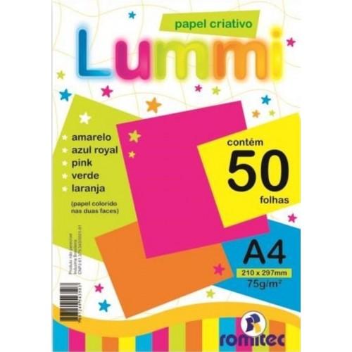PAPEL CRIATIVO LUMMI A4 75G C/ 50Fls C/5 CORES ROMITEC