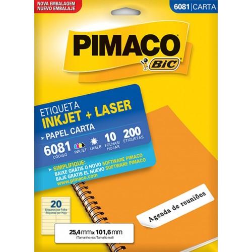 ETIQUETA INKJET + LASER 6081 PIMACO