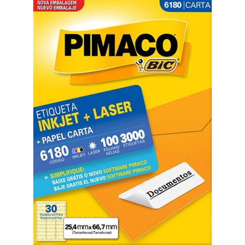 ETIQUETA INKJET + LASER 6180 PIMACO