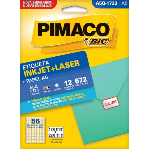 ETIQUETA INKJET + LASER A5Q-1723 PIMACO