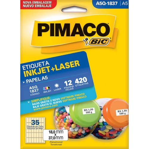 ETIQUETA INKJET + LASER A5Q-1837 PIMACO