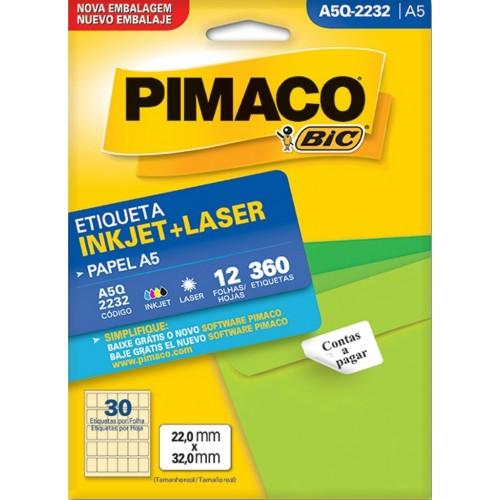 ETIQUETA INKJET + LASER A5Q-2232 PIMACO