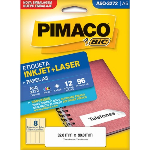 ETIQUETA INKJET + LASER A5Q-3272 PIMACO