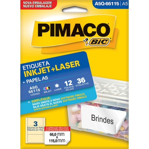 ETIQUETA INKJET + LASER A5Q-66115 PIMACO
