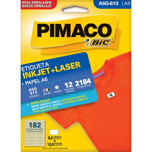 ETIQUETA INKJET + LASER A5Q-813 PIMACO