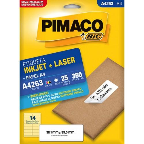 ETIQUETA INKJET + LASER A4263 PIMACO