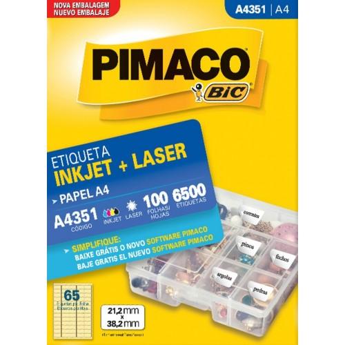 ETIQUETA INKJET + LASER A4351 PIMACO