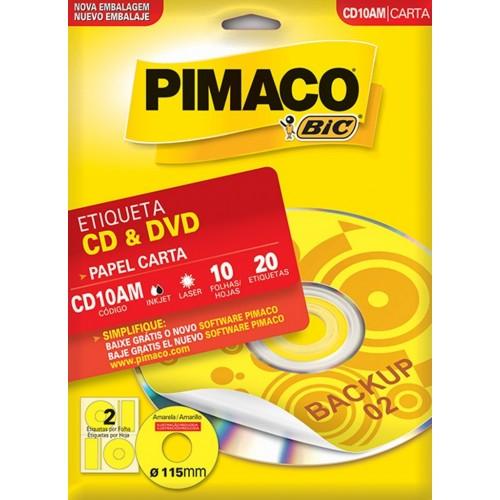ETIQUETA INKJET + LASER FLUORESCENTE CD10AM 10FLS