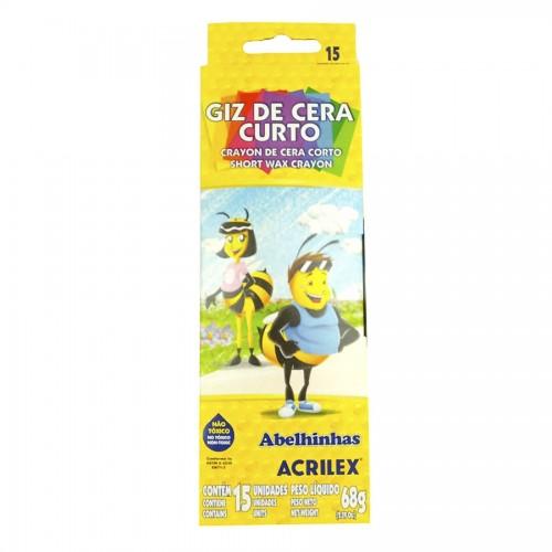 GIZ DE CERA CURTO REDONDO 12 CORES ACRILEX